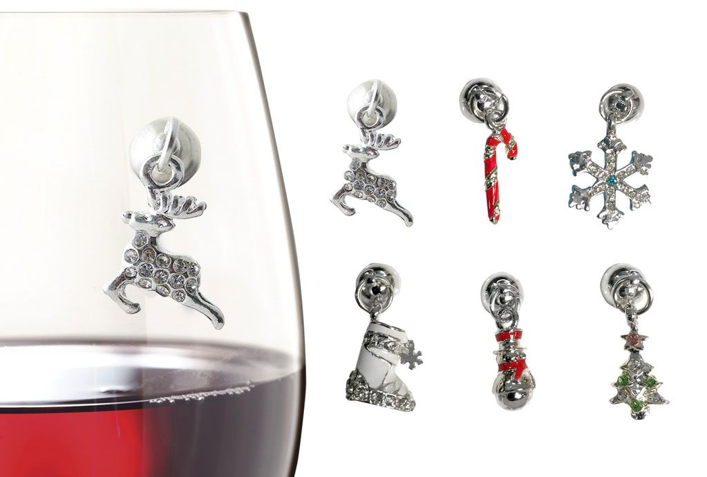 Metallic markers, charms and tags for wine glasses