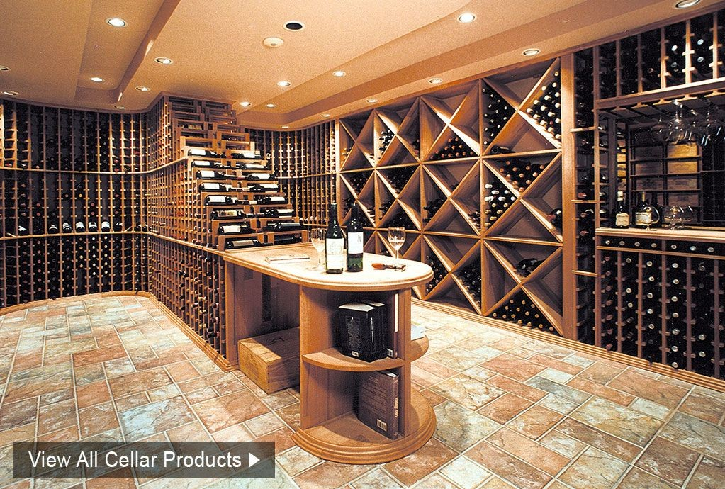 Customized wine cellar storage, shelving and racking kits made in wood
