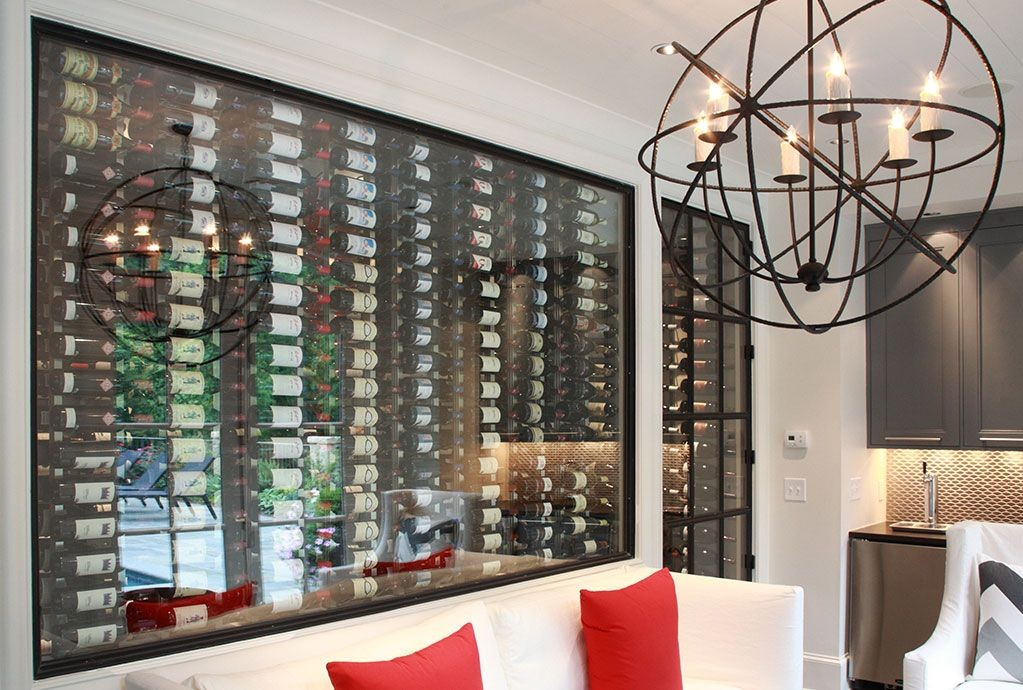 Sleek and contemporary VintageView wine cellar racking display