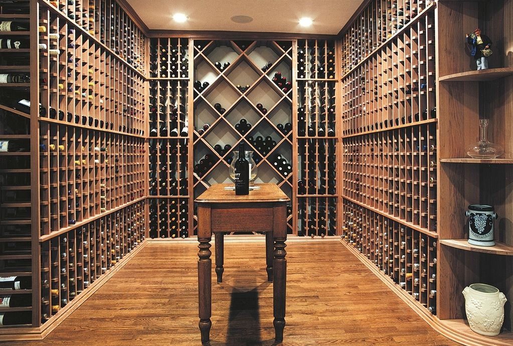 Elegant wine cellar with a wooden racking system