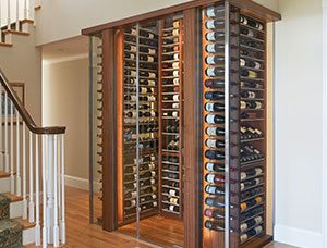 Dramatic Jewel Box Custom Wine Cabinet in Tiburon, CA