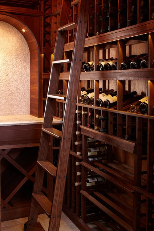 Custom Wine Cellars San Francisco California Bishop Racks & Ladder Completed
