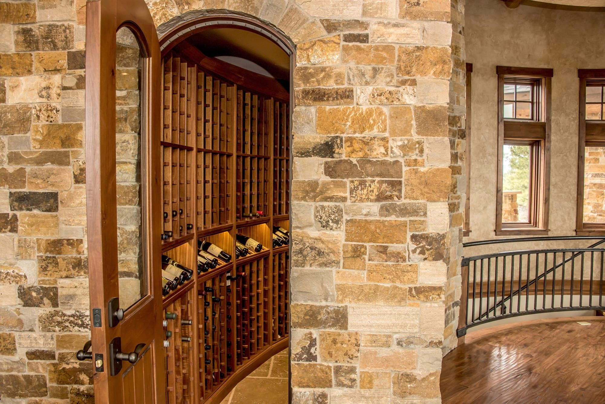 Beautiful Wood Wine Cellar with Display Shelves in Pagosa Springs, Colorado