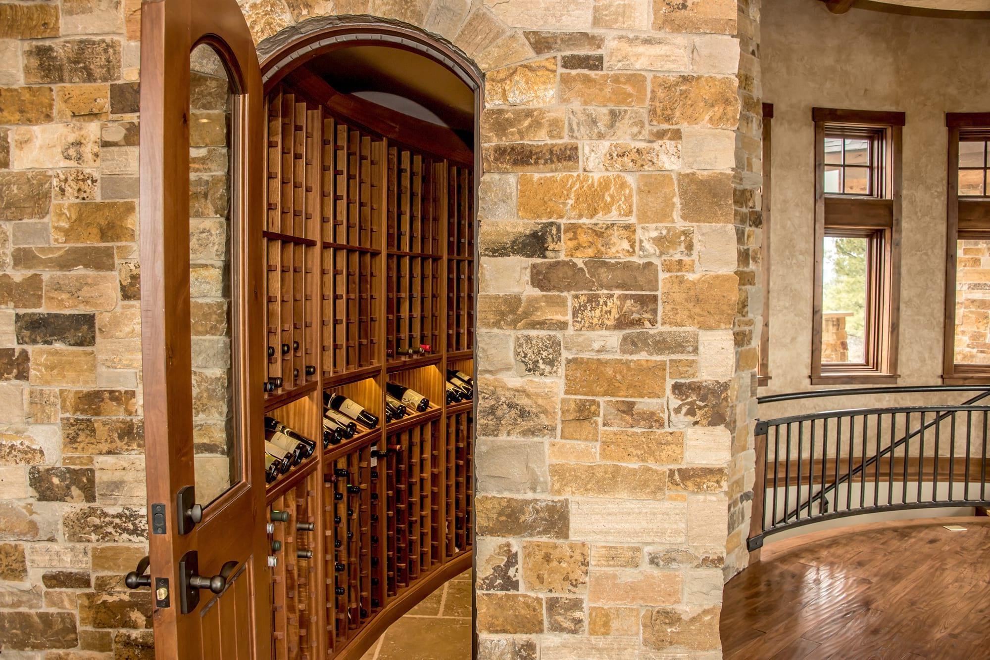 Beautiful Wood Wine Cellar with Display Shelves in Pagosa Springs, Colorado