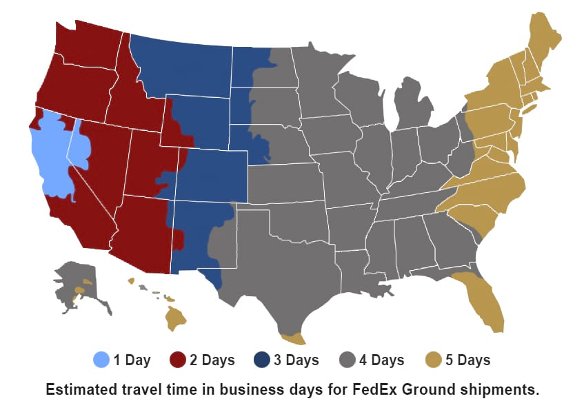 FedEx Ground Shipping Timing Map