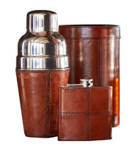 Brown Leather Barware