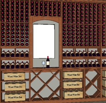 Drawing of Custom Wine Cellar