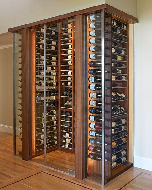 Beautiful wood wine cellar in Tiburon, California