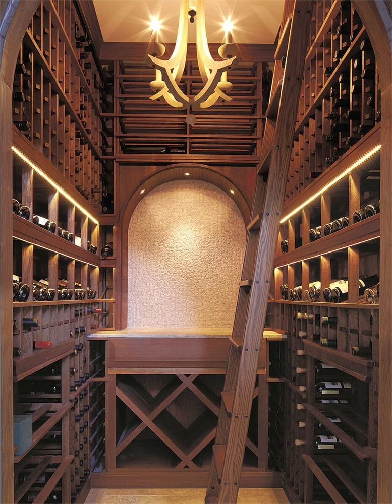 Beautiful wood wine cellar in Tiburon, California