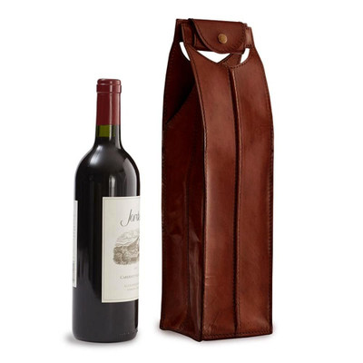 Leather Wine Carrier >> Leather Wine Bag Brown 1 Bottle 25680 Iwa Wine Accessories
