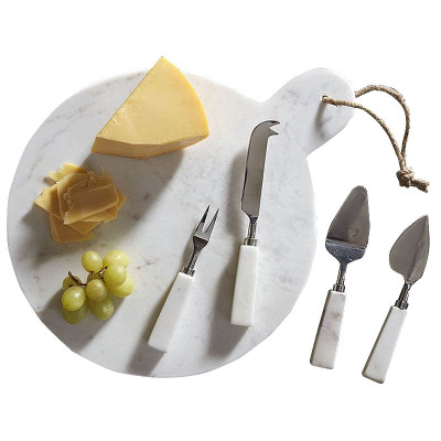 Marble Serving Board And Cheese Knives Set Of 4 19576