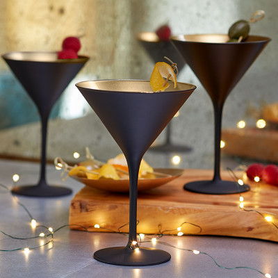 Black Martini Glass Gold Interior Set Of 2 27268 Iwa Wine