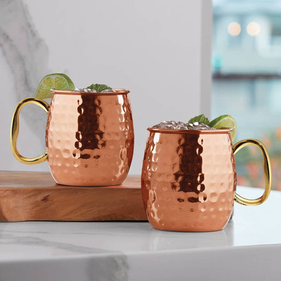 Moscow Mule Copper Mugs Hammered Set Of 2 27264 Iwa Wine