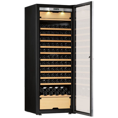 Transtherm castel wine cabinet glass door brushed aluminum for Brushed aluminum kitchen cabinets