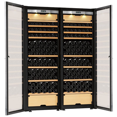 Transtherm double castel wine cabinet glass door brushed for Brushed aluminum kitchen cabinets