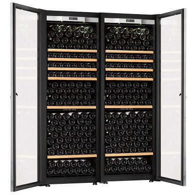 Transtherm Double Ermitage Wine Cabinet Glass Door Black New 7727
