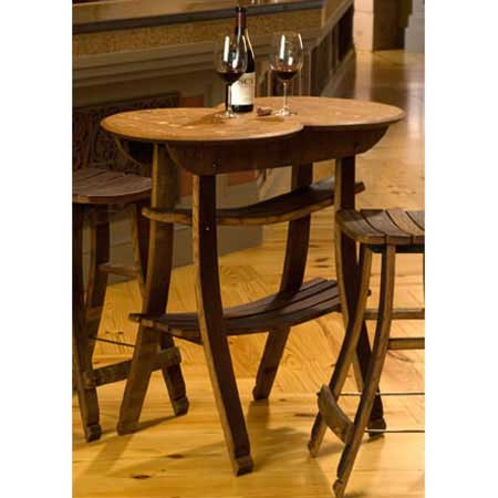 Recycled Barrel Stave Table And 2 Stools #2957 Part 63