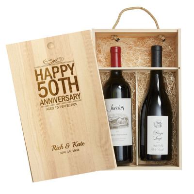 Personalized Pine Wood Gift Box 2 Bottle Anniversary
