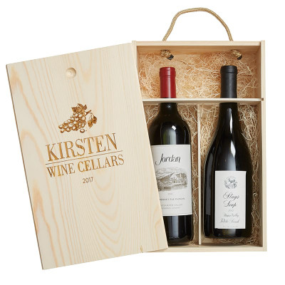 Personalized Pine Wood Gift Box 2 Bottle Grapes 25730
