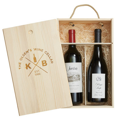 Personalized Pine Wood Gift Box 2 Bottle Quadrant 25731