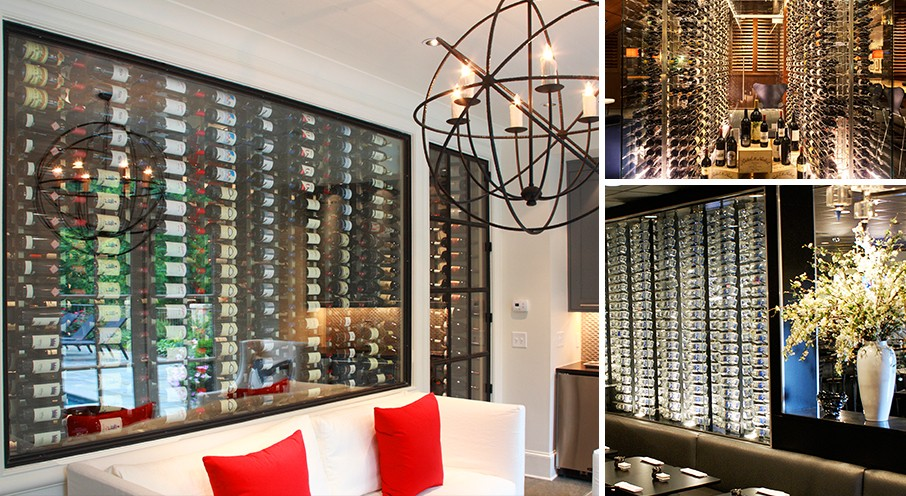IWA Design Center - Glass enclosed wine cellar design