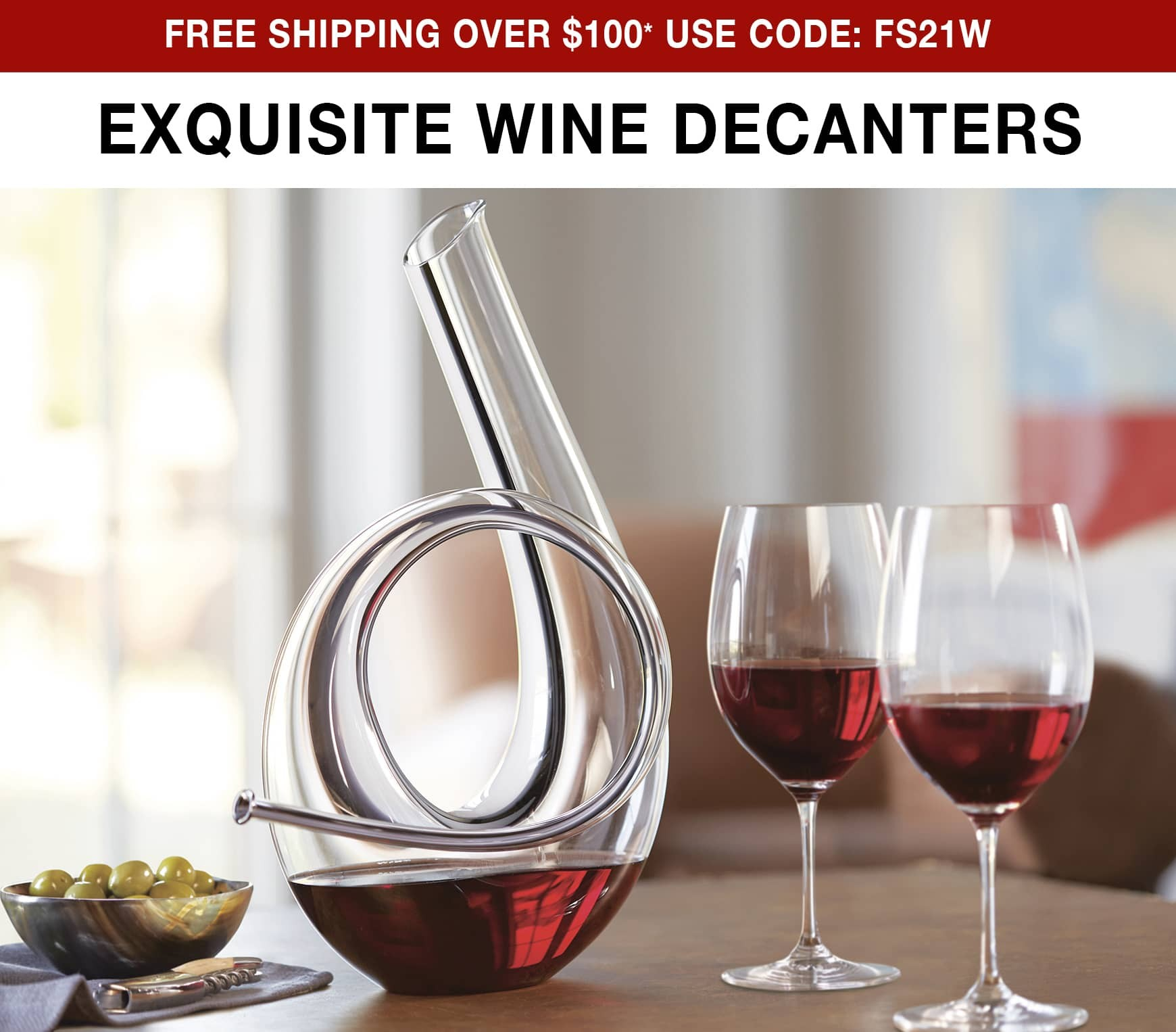 Exquisite Wine Decanters - Free ground shipping on orders over $100 use code FS21W