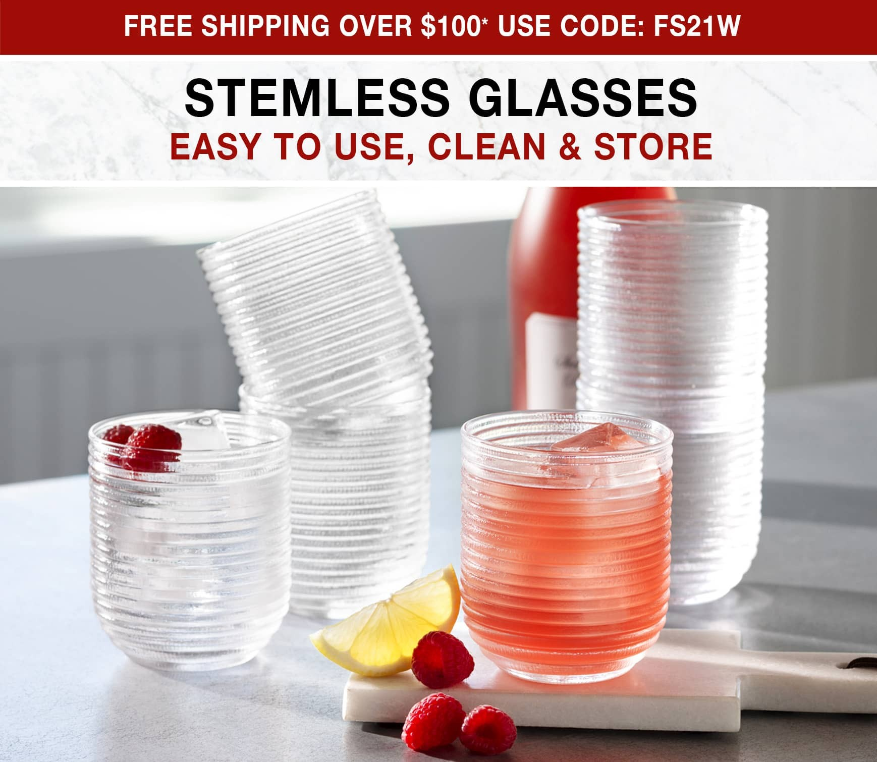 Stemless Glasses - Free Shipping Over $100* Use Code FS21W
