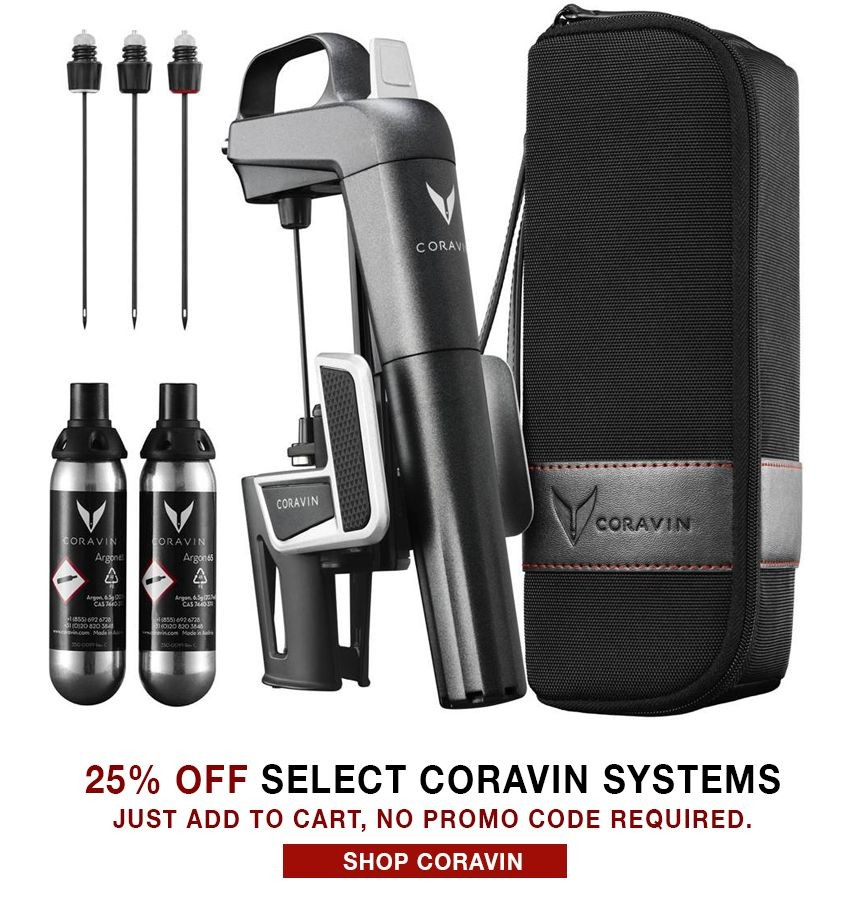 25% Off Select Coravin Wine Access Systems. No code necessary.