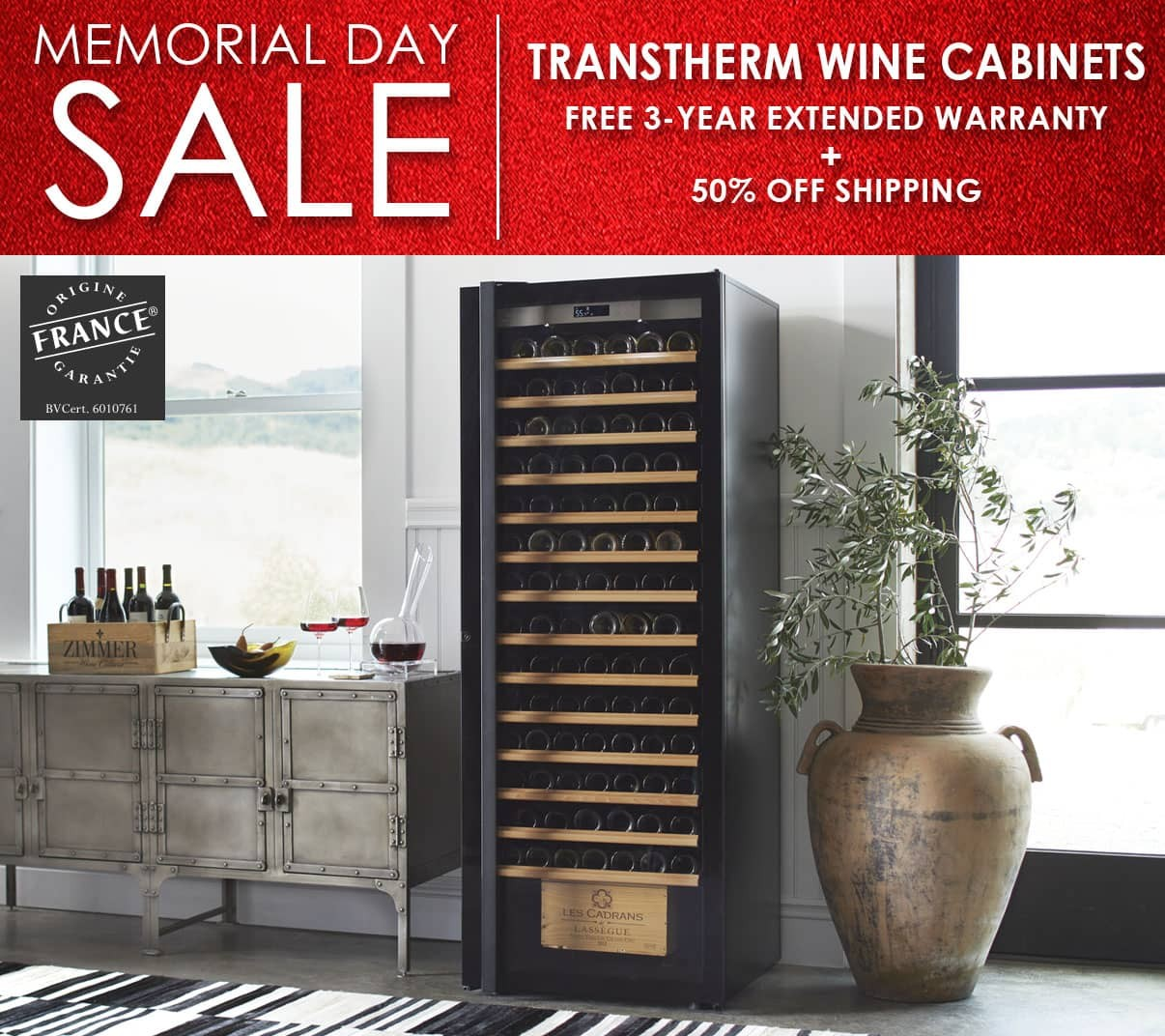 Memorial Day Weekend Sale - Transtherm Wine Cabinets Free 3-Year Extended Warranty + 50% Off Shipping