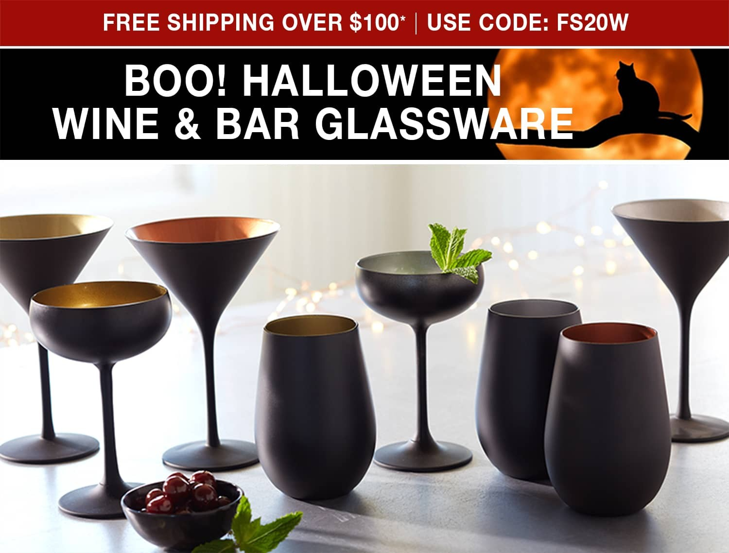 Halloween Glassware - Free Shipping on Orders Over $100 - Use Code FS20W