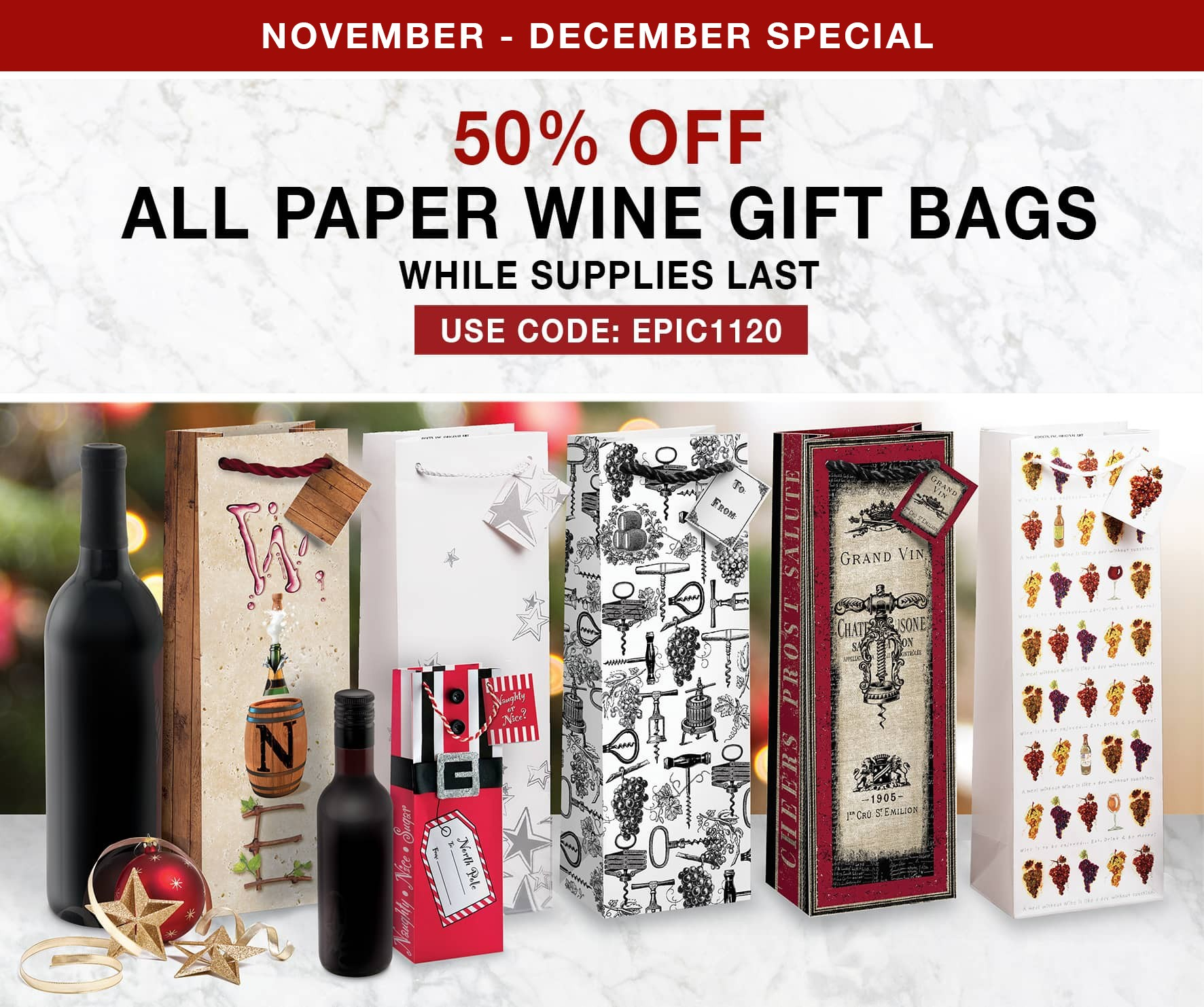 50% Off All Paper Wine Gift Bags - Use Code EPIC1120