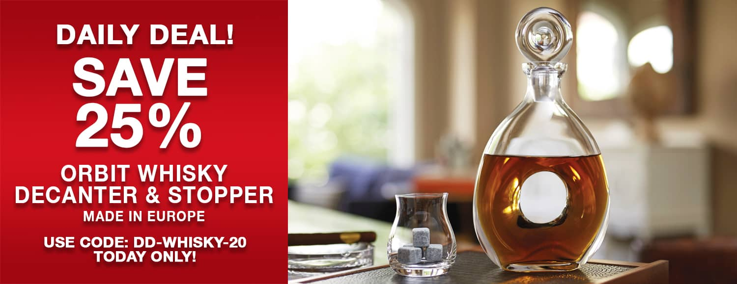Save 25% on Orbit Whisky Decanter. Use code DD-WHISKY-20 today only!