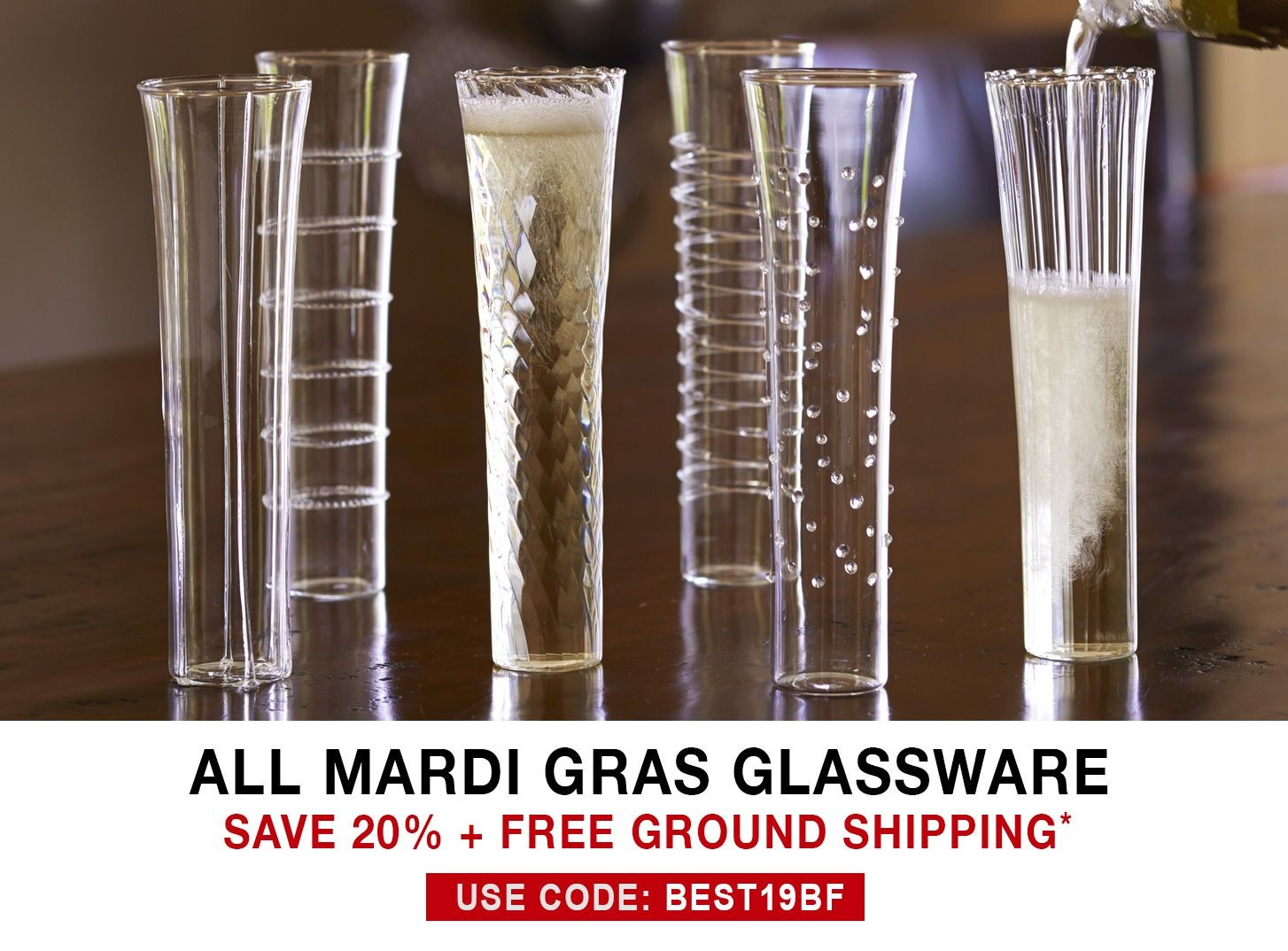 Mardi Gras Glasses - 20% Off + Free Ground Shipping - Use Code BEST19BF