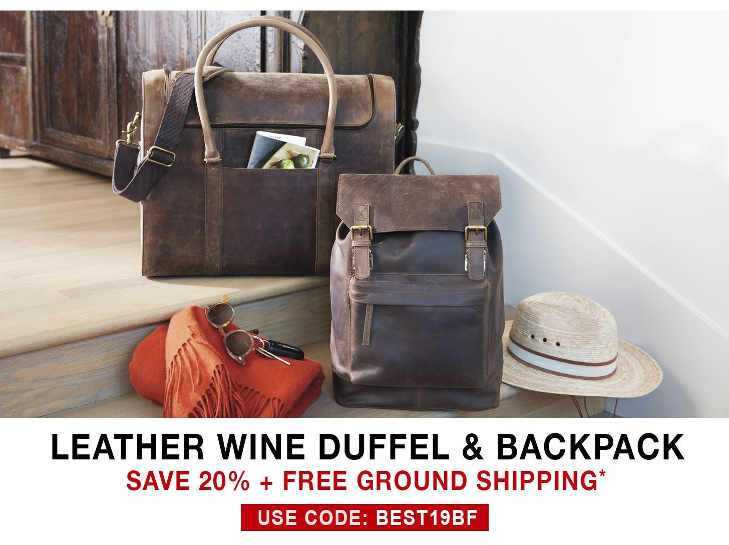 Leather Wine Duffel & Backpack - 20% Off + Free Ground Shipping - Use Code BEST19BF