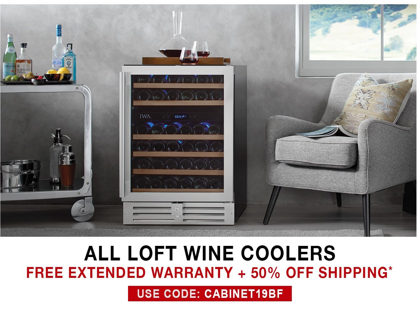 Loft Wine Coolers - Free 3 Year Extended Warranty + 50% Off Shipping - Use Code CABINET19BF