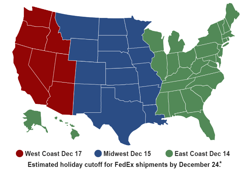 Map of Geographic Areas for Holiday Shipping Cutoff